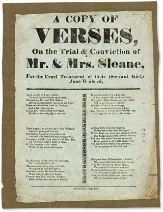 A Copy of Verses, On the Trial & Conviction of Mr & Mrs Sloane. Broadside, Great Britain, Child...