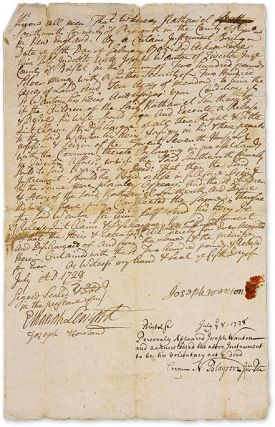 Autograph Legal Document, Signed, Bristol, Rhode Island, July 5, 1728. Manuscript, Joseph Wanton