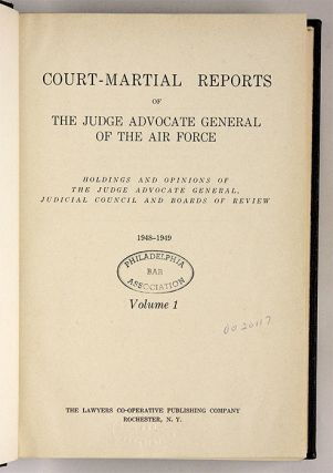 Court-Martial Reports of the Judge Advocate General of the Air Force