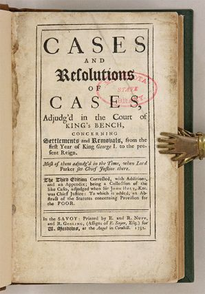 Cases and Resolutions of Cases, Adjudg'd in the Court of King's Bench.