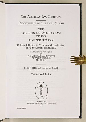 Restatement of the Law Fourth, Foreign Relations Law... w/2019 PP