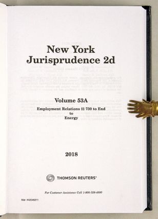 New York Jurisprudence 2d. Employment Relations. 3 Vols. 52 to 53A
