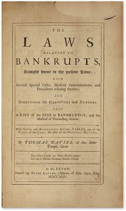 The Laws Relating to Bankrupts. London, 1744.