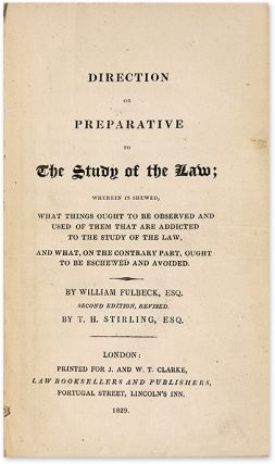 A Direction or Preparative to the Study of the Law... 2nd edition Rev.