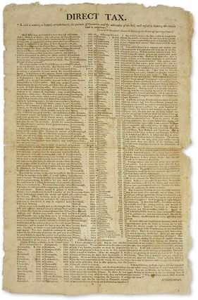 "Direct Tax, [New Hampshire: S.n, c.1807], 18"" x 11"" broadside. Broadside, Louisiana Purchase"