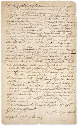 Writ from the State of Connecticut Ordering the Seizure of Goods. Manuscript, Connecticut
