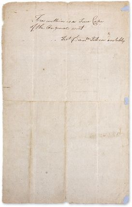 Writ from the State of Connecticut Ordering the Seizure of Goods...