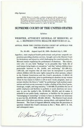 Webster, Attorney General of Missouri, Et Al v Reproductive Health. Supreme Court of the United...
