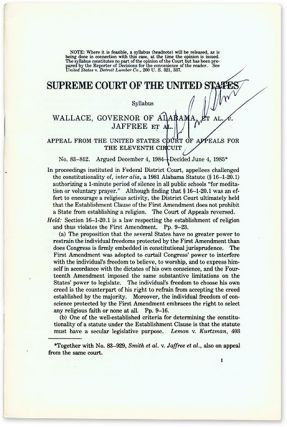 Wallace, Governor of Alabama, Et al v Jaffree Et al