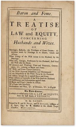 Baron and Feme: A Treatise of the Common Law Concerning Husband and. Great Britain Marriage Law