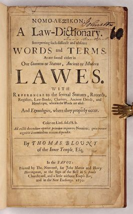 Nomo-Lexikon: A Law Dictionary Interpreting Such Difficult and Obscure