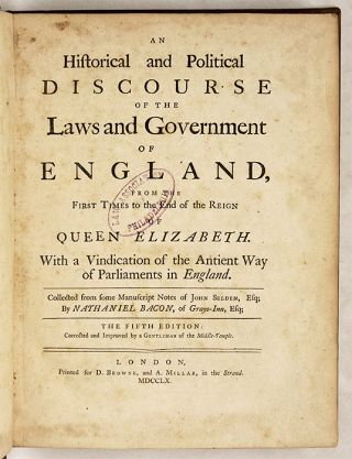 An Historican and Political Discourse of the Laws and Government...