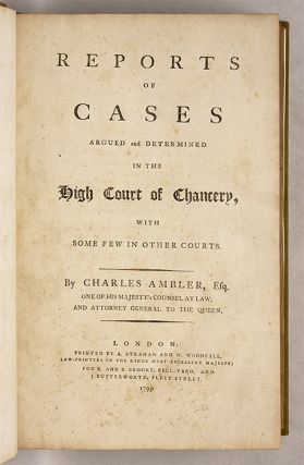 Reports of Cases Argued and Determined in the High Court of Chancery..