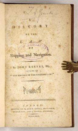 A History of the Law of Shipping and Navigation, London, 1792.