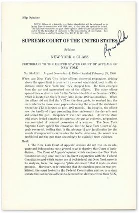 New York v Class (Slip Opinion), Certiorari to the United States. Supreme Court of the United...