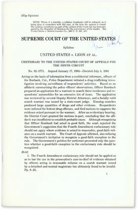 United States v Leon et Al (Slip Opinion), 1984. Supreme Court of the United States, Byron White