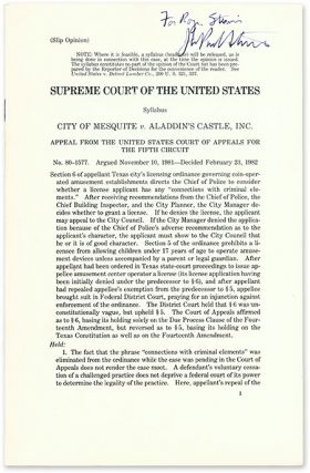 Slip Opinion) City of Mesquite v Aladdin's Castle, Inc, Inscribed by. Supreme Court of the United...