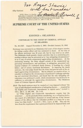 Slip Opinion) Eddings v Oklahoma, Certiorari to the Court, Inscribed. Supreme Court of the United...