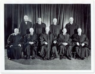 "7"" x 9"" Black-and-White Press Photograph of the Warren Court. United States Supreme Court"