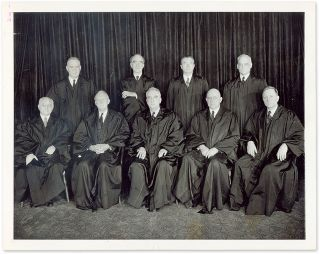 "7"" x 9"" Black-and-White Press Photograph of the Vinson Court. United States Supreme Court"