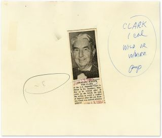 """6"""" x 9-1/2"""" Black-and-White Press Photograph of Justice Clark..."""