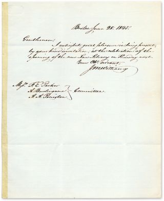 Autograph Letter Signed, by J M Williams, Accepting an Invitation. Manuscript, J. M. Williams