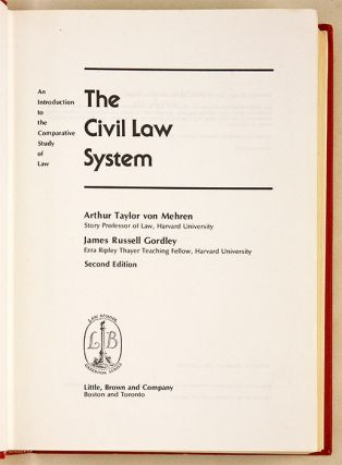 The Civil Law System: An Introduction to the Comparative Study of Law