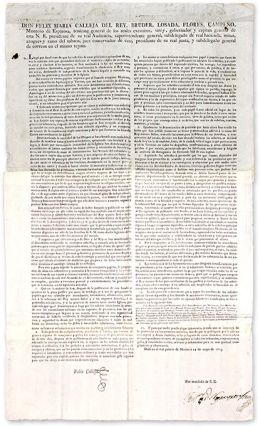 "Don Felix Maria Calleja, 28"" x 16-3/4"" Broadside, Mexico City, 1815. Broadside, Felix Maria..."