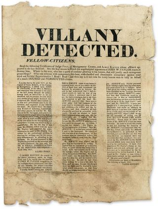 Villany Detected. Fellow-Citizens, Read the Following Certificates. Broadside, James Kinyon,...