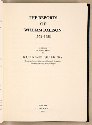 The Reports of William Dalison, 1552-1558