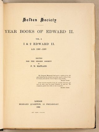 Year Books of Edward II, vol I, 1&2 Edward II AD 1307-1309.