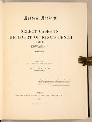 Select Cases in the Court of King's Bench under Edward I, Vol III.