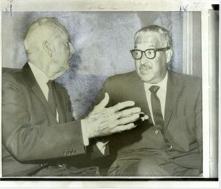 "8"" x 9-1/2"" Color Press Photograph of Justices Marshall and Black. Thurgood Marshall, Hugo L. Black"