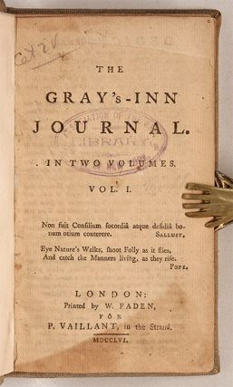 The Gray's-Inn Journal, In Two Volumes, London 1756.