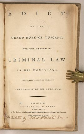 Edict of the Grand Duke of Tuscany, for the Reform of Criminal Law...