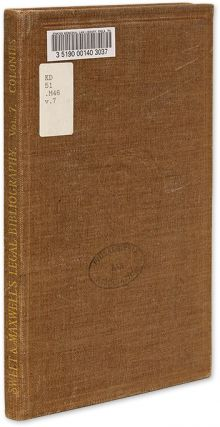 A Bibliography of the Law of British Colonies, Vol 7. Leslie F. Maxwell