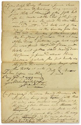 Documents Relating to the Trial of a Female Slave Accused of Theft.