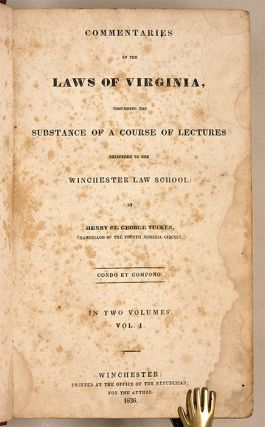 Commentaries on the Laws of Virginia, Comprising the Substance of...