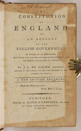 The Constitution of England; Or, An Account of the English Government.