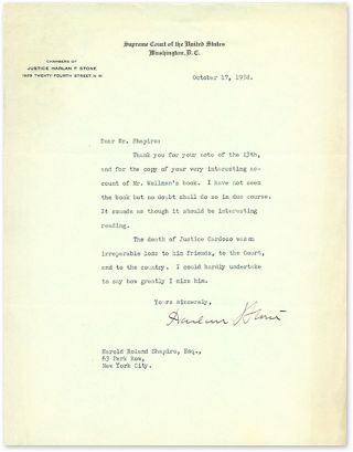 Typed Letter, Signed, Regarding the Death of Benjamin Cardozo. Manuscript, Harlan Stone, Harold...
