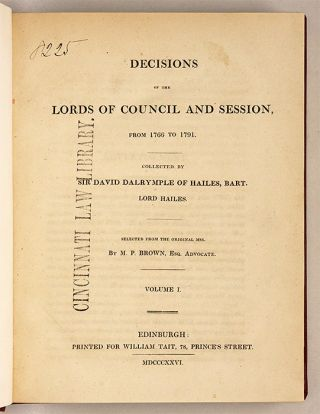 Decisions of the Lords and Council and Session, From 1766 to 1791...
