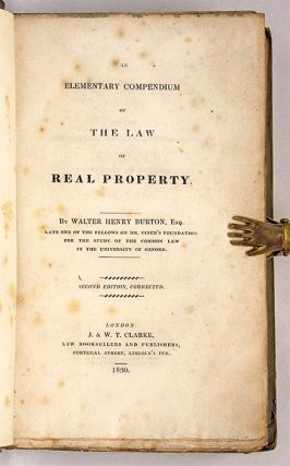 An Elementary Compendium of the Law of Real Property, 2nd ed, 1830.