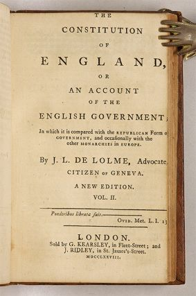 The Constitution of England, Or an Account of the English Government.