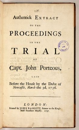 Three Cases Concerning Soldiers, One Concerning a Cattle Thief, 1737.