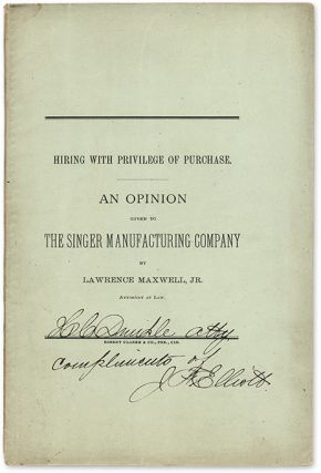 Hiring with Privilege of Purchase, An Opinion Given to the Singer. Lawrence Maxwell, Jr