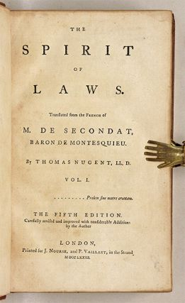 The Spirit of Laws, Translated from the French of M de Secondat...