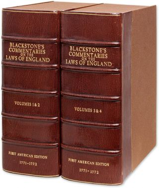 Commentaries on the Laws of England. Re-Printed From the British Copy. Sir William Blackstone,...