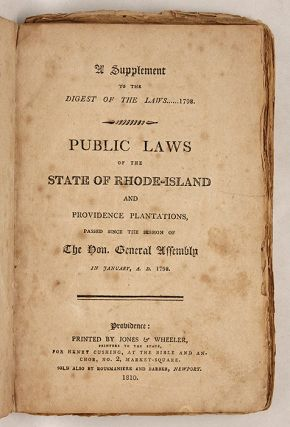 Public Laws of the State of Rhode-Island and Providence Plantations..