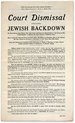 Court Dismissal Follows Jewish Backdown: No Crime Having Been Shown. Anti-Semitism, Robert Edward...