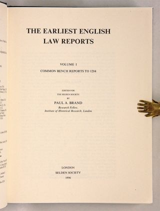 The Earliest English Law Reports. 4 vols. Complete. Selden Society